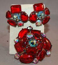 RARE RARE Schiaparelli Poured Ruby Glass Book Set Brooch & Earrings! Roses