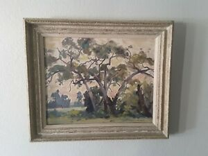 """THORWALD PROBST (1886 - 1948) Oil on Canvas Painting. Title """"Stand of Sycamore"""""""