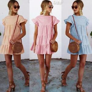 Women Summer Smock Dress Holiday Beach Casual Loose Frill Mini Sundress Lady UK