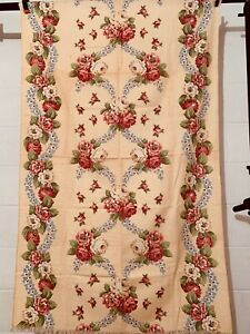 Vintage Cotton Barkcloth Curtain Decorating Fabric 50s BEAUTIFUL Floral UNUSED