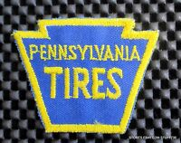 "PENNSYLVANIA TIRES EMBROIDERED PATCH AUTO ADVERTISING HAT SHIRT 2 7/8"" x 2"""