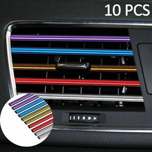 10Pcs Car Air Conditioner Outlet Vent Grille Decor U Shape Molding Trim Strip