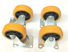 "Lot of (4) 4"" Caster Plate Orange Polyurethane Swivel and Fixed Wheels"