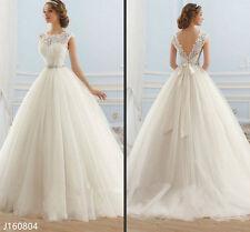 Princess Ball Gown Wedding Dresses Cap Sleeve V-Back Lace Bridal Dresses 2017