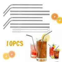 "8Pcs 10.5"" Stainless Steel Drinking Straws Metal Reusable+2Pcs Cleaning Brush"