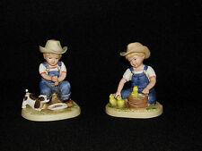 2 Homco Denim Days Figurines 1985 Boy with Ducks and Boy with Dog