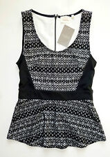 Anthropologie NWT Sculpted Lace Top by Deletta - Black Peplum - SZ XS