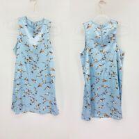 Kimchi Blue Womens Blue Chinoiserie Back Zip Floral Mini Shift Dress Size Small