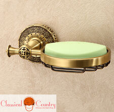 Pure Copper Brass Soap Box Dishes Dispensers Antique Round Bath Handle Rack