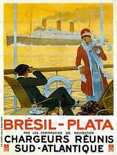 Voyages brésil paquebot cruise france ship boat vintage advertising poster 2321PY