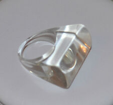 VINTAGE STATEMENT RING ICE CLEAR PLASTIC RESIN SIZE 6