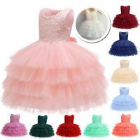 Flower Girl Party Bow Princess Dress Baby Kids Wedding Bridesmaid Formal Dresses