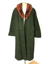 VGC Vtg 50s Rockabilly Green Black Boucle Wool Swing Opera Coat Mink Collar M/L