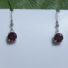 3.6 CTW Natural Garnet Drop Non-Slip Earrings 7 mm round 925 Sterling Silver