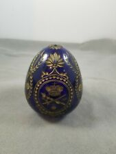 Beautiful Cobalt Blue Color Etched Glass Faberge Egg Russia