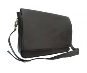 NEW Piel Soft Leather Professional Laptop Commuter Messenger Bag Black  2360