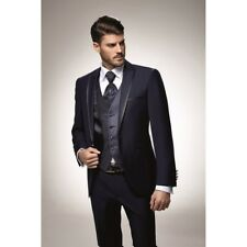 Herrenanzug Hochzeitsanzug Bräutigam Slim Fit 9teiler schwarz blau Gr44-56 ADIMO