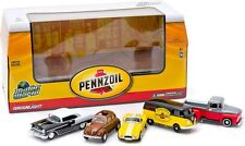 GREENLIGHT MOTOR WORLD PENNZOIL 5 CAR DIORAMA, VOLKSWAGON, FORD, CHEVY, #58025