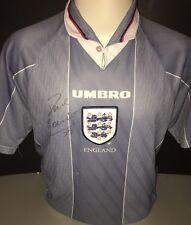 Firmato Inghilterra Paul Alberto UMBRO EURO 96 AWAY SHIRT