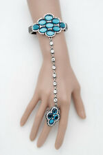 Women Cuff Bracelet Silver Metal Hand Chain Blue Flower Beads Jewelry Slave Ring