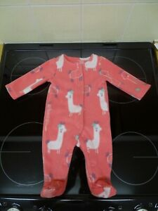 Baby Girl's Llama Fleece Sleepsuit from F&F at Tesco's Size: Newborn up to 10lb