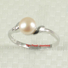 Solid Sterling Silver .925 Pink Freshwater Cultured Pearl Solitaire Ring TPJ
