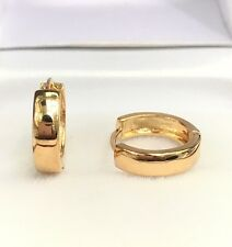 18k Solid Yellow Gold Cute Hoop Plain Earrings . 2.30 Grams