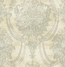 Tapete, Designtapete, Leinenprint, Luxus, Muster, jeansblau, beige, Ornamente