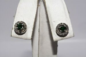 $1,000 .39CT NATURAL GREEN EMERALD & DIAMOND HALO CLUSTER STUD EARRINGS 14K GOLD