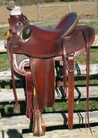 Western Leather Hand Carved & Tooled Roper Ranch Saddle With Suede Seat 215: 16""