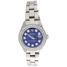 Rolex Oyster Perpetual Datejust señoras reloj de Diamante 6917 Acero Esfera Azul 1 CT.