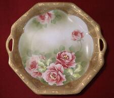 Nippon Portrait Cake Plate Roses Gold Gilded Detailed Edge Mark #52 Maple Leaf