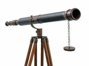 Harbor Master Antique Brass Leather Telescope Spyglass With Wooden Tripod Decor
