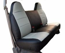 FORD F-250 350 BLACK/GREY IGGEE S.LEATHER CUSTOM FIT BENCH FRONT SEAT COVER
