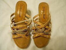 Womens Shoes Sandals Heels Sz 7.5M Brown Animal Print 2 Lips Too