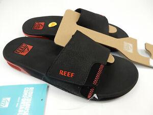 Reef Mens Fanning Slide Black Red 10