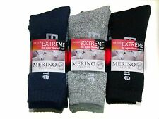 3 PRS MENS KING SZ 11-14 MIXED MERINO WOOL THERMAL CUSHION FOOT WORK SOCKS