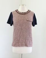 J Crew Tweed Front Tee in Camel Size M Blue Fringe T-Shirt Blouse Pink 05935