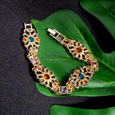 Bracelet Golden Art Deco Lacework Multicolored Blue Amber Marriage Retro CT9
