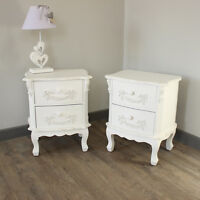 PAIR white ornate bedside tables cabinets french home bedroom furniture vintage