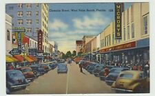 Clematis Street, West Palm Beach. FL, Linen Postcard