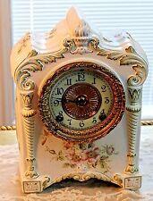 "Antique Ansonia Clock Co. New York ""WINONA"" 8-Day Porcelain China Mantel Clock."
