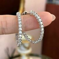 14k White Gold Over 1.5 CT Round Cut Diamond Inside-Out Engagement Hoop Earrings