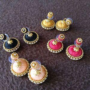 Indian Fancy Handmade Women Girls Fashion Jhumka Jhumki Silk Thread Earrings