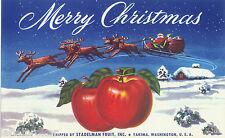APPLE CRATE LABEL YAKIMA ORIGINAL 1940S MERRY CHRISTMAS SANTA CLAUS SLEIGH XMAS