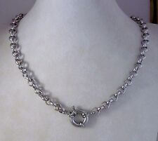 "19"" GF 9k 9ct White Gold Belcher Bolt Ring Solid Necklace 9k GF"