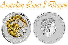 Australian Lunar Ser.2 SILVER-Coin, DRAGON gilded, vermeil 1 oz.(gold appl) COA