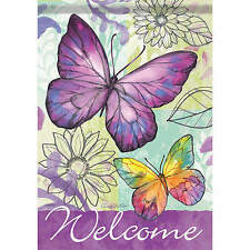Large Size Purple Butterfly Decorative House Banner Double-side Garden Flag