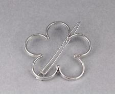Silver flower barrette daisy flower outline shape metal hair clip barrette