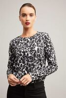 Witchery Animal Print Crew Neck Top T-Shirt Size XS Long Sleeve Casual Womens